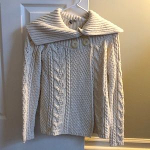 Cream Cotton Cable Knit Sweater